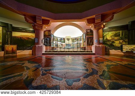Koenigswinter, Germany - August 01, 2020: View Inside The Nibelungenhalle At The Drachenfels In Koen