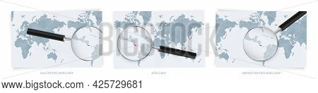 Blue Abstract World Maps With Magnifying Glass On Map Of Costa Rica With The National Flag Of Costa