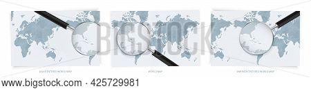 Blue Abstract World Maps With Magnifying Glass On Map Of The Bahamas With The National Flag Of The B