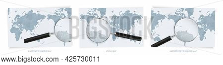 Blue Abstract World Maps With Magnifying Glass On Map Of Trinidad And Tobago With The National Flag