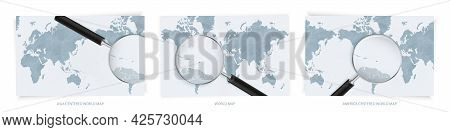 Blue Abstract World Maps With Magnifying Glass On Map Of Antigua And Barbuda With The National Flag