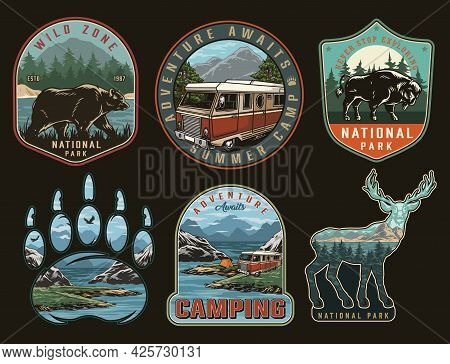 Camping Vintage Colorful Prints With Walking Bear Bison Motorhome And Tent On Coast Of Lake Nature L