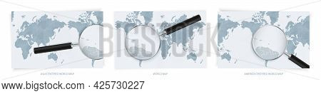 Blue Abstract World Maps With Magnifying Glass On Map Of Saint Kitts And Nevis With The National Fla