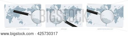Blue Abstract World Maps With Magnifying Glass On Map Of Saint Vincent And The Grenadines With The N