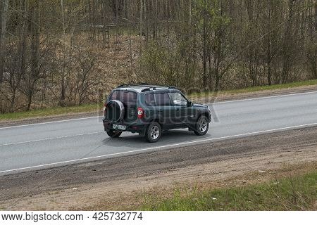 Ruzayevsky District, Mordovia, Russia - May 08, 2021: The Chevrolet Niva On The Intercity Road.