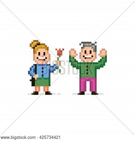 Colorful Simple Flat Pixel Art Illustration Of Smiling Girl Giving A Flower To A Joyful Guy