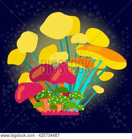 Glowing Mushrooms On A Dark Background. Composition Of Many Bright Fairy Or Space Mushrooms In A Car
