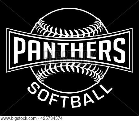 Panthers Softball Graphic-one Color-white Is A White On Black Sports Design Which Includes A Softbal