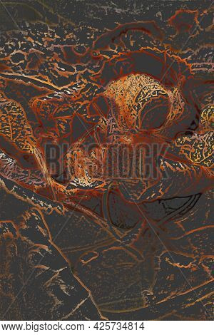 Abstract Dark Autumn Deciduous Background. Texture Of Linden Leaves Of Brown And Orange Color On A D