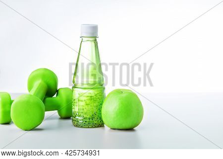 Organic Food And Sport Equipment On Light Grey Background With Copy Space. Healthy Life Style Food F