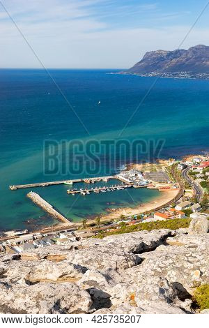 Elevated Panoramic View Of Kalk Bay Harbour In Cape Town