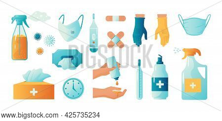 Hand Sanitizer. Ppe Disinfection. Alcohol Spray Or Gel For Arms Cleaning. Bottles Of Medical Antisep