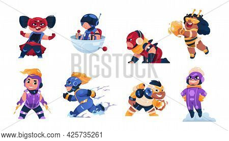 Cartoon Superhero Child. Funny Kids Mascots. Boys And Girls In Carnival Costumes. Happy People Cospl