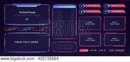 Game Frame. Stream Overlay Banner With Buttons And Video Player Ui Template. Futuristic Live Interfa