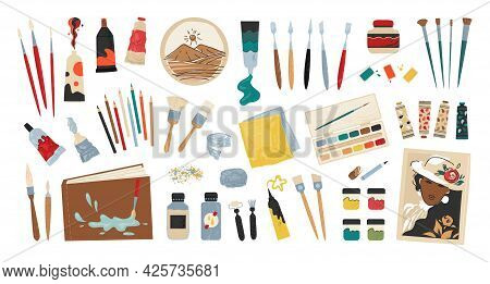 Painting Supplies. Cartoon Accessories And Tools Collection For Drawing. Professional Acrylic Or Wat