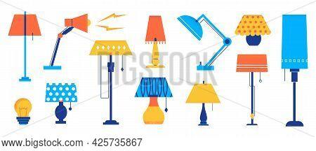 Interior Lamp. Cartoon Light Decorative Elements. Table And Floor Lighting. Modern Or Retro Lampshad