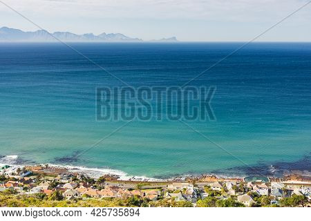Elevated View Of St James Coastal Town In False Bay, Cape Town
