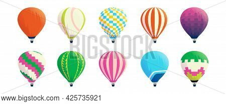 Hot Air Balloons. Cartoon Colorful Airships. Bright Striped Domes With Baskets. Retro Or Festival Fl