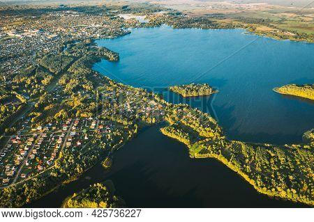Lyepyel, Lepel Lake, Beloozerny District, Vitebsk Region. Aerial View Of Lyepyel Cityscape Skyline I
