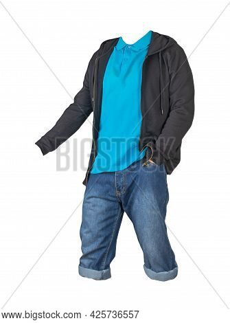 Denim Dark Blue Shorts,blue T-shirt With Collar On Buttons And Black Sweatshirt With Zipper And Hood