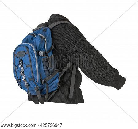 Blue  Backpack Dressed In A Knitted Black  Sweater Isolated On A White Background. Backpack And Male