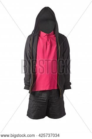 Black Sweatshirt With Iron Zipper Hoodie,black Shirt And Red Sports Shorts Isolated On White Backgro