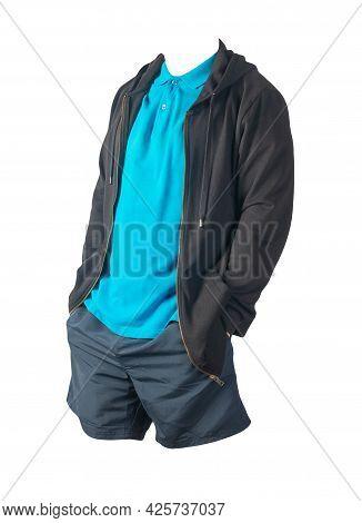 Black Sweatshirt With Iron Zipper Hoodie,blue  Shirt And Dark Blue Sports Shorts Isolated On White B