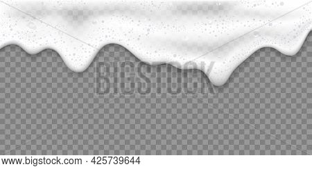 Bath Foam Or Beer Foam Realistic 3d Vector Illustration, Isolated On Transparent Background. White S