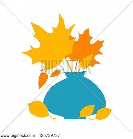 Autumn Orange And Yellow Leaves In Blue Vase. Flat Autumn Composition, Decorative Elements. Autumn C