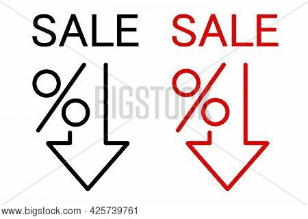 Percent Down Line Icon. Percentage, Arrow, Reduction. Banking Concept. Can Be Used For Topics Like I
