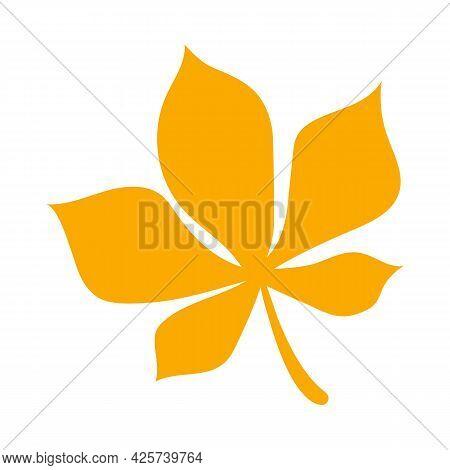 Simple Autumn Leaf, Herbal Element. Fall Orange Chestnut Leaf. Can Be Used As Sign, Symbol, Icon. Au
