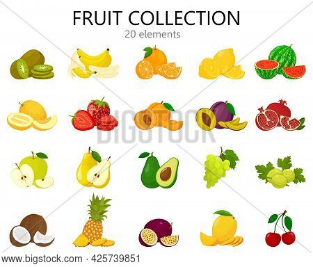 Set Of Fruits Isolated On White. Fresh And Bright Fruits Icons, Flat Style. Cute Cartoon Fruits Coll