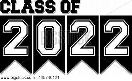 Congratulations Class Of 2022 Graduate Black And White Ribbon Banner