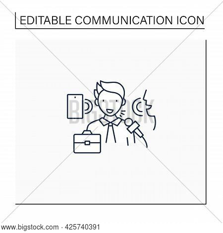 Verbal Communication Line Icon. Share Information To People. Motivation Speech.job Interview, Dialog