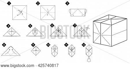 Step By Step How To Make Origami 3d Cube Toy . Vector Monochrome Instructions Illustration. Black An