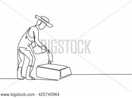Single One Line Drawing Of Male Farmer Prepare Feed For Livestock To Be Healthy And Produce The Best