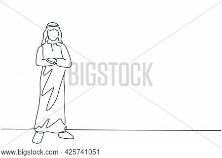 Single Continuous Line Drawing Of Young Arabian Businessman Pose Standing With Hands On Chest. Succe
