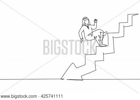 Single One Line Drawing Of Young Arabic Businessman Falling From Stairs Down To Bankruptcy. Failure