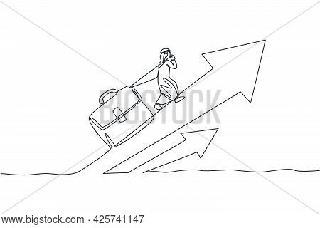 Single One Line Drawing Young Arabic Businessman Climb Up Arrow Sign While Pulling Leather Briefcase