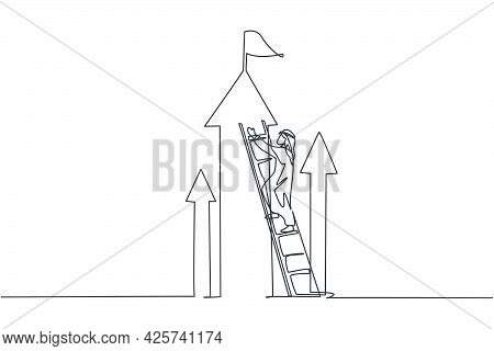 Single Continuous Line Drawing Of Young Arabian Businessman Climb The Arrow Symbol Up To Reach The T