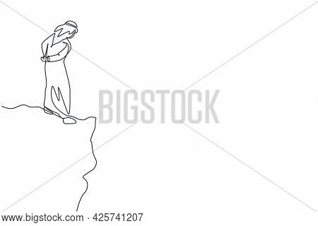 Single Continuous Line Drawing Of Young Arabian Businessman Looking Down At The Bottom Of The Abyss.