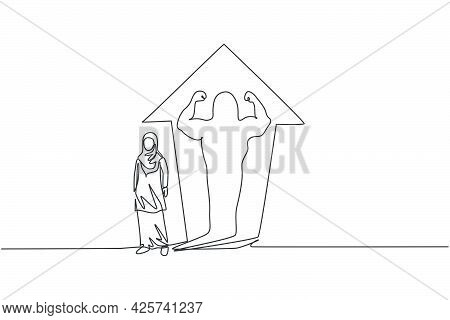 Continuous One Line Drawing Of Young Female Arabic Worker Reflect Muscular Shadow On The Wall. Succe