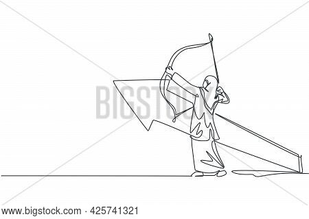 Single Continuous Line Drawing Young Beauty Arabian Sporty Woman Hold An Arrow Bow Before Release To