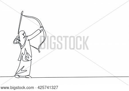 Single Continuous Line Drawing Of Young Beauty Arabian Employee Focus To Aim The Target Using Arrow