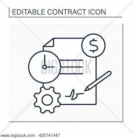 Service Contract Line Icon. Business Agreement Between Contractor And Customer. Maintenance, Servici