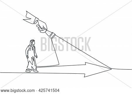Continuous One Line Drawing Of Young Arabian Male Worker Walking Under The Arrow Way Bright Light. S