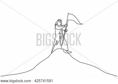 Single Continuous Line Drawing Young Arabic Businessman Planting The Goal Flag On The Top Of Mountai