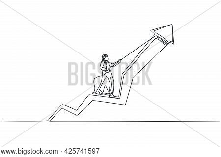 Single One Line Drawing Of Young Attractive Male Arabic Entrepreneur Pulling Up Arrow Symbol Using R