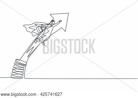Single Continuous Line Drawing Of Young Arab Businessman Jumping And Flying With Metal Spring. Smart