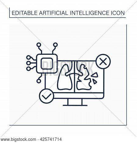 Ai In Medicine Line Icon. Digital Technologies. Autonomous Lungs Diagnosis. Computer Screen. Ai Diag